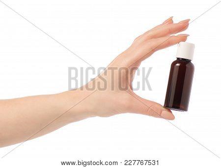 Cosmetic Travel Bottle, Hotel Bathroom Shampoo Shower Gel Lotion In Hand On White Background Isolati