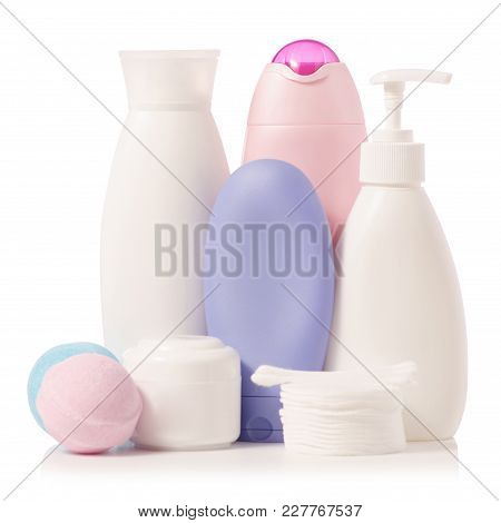 Cosmetic Set Bath On White Background Isolation