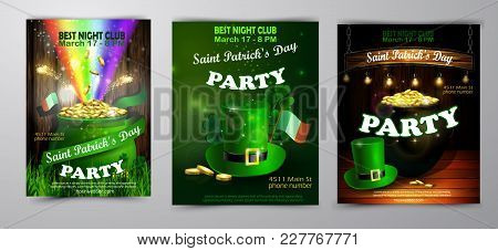 St. Patrick S Day Poster Set. Vector Illustration For Party