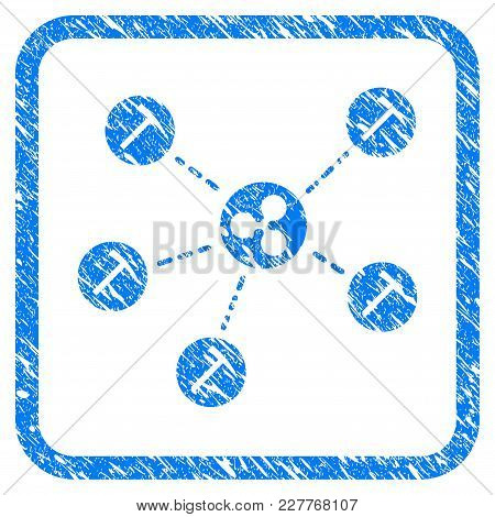 Ripple Mining Network Rubber Seal Stamp Imitation. Icon Vector Symbol With Grunge Design And Unclean