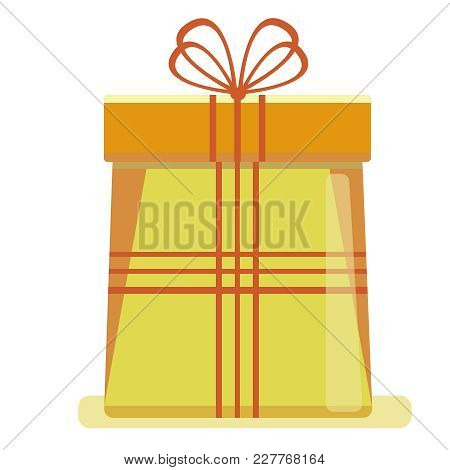 A Big Yellow New Year's Gift Box With A Red Ribbon, Isolated On A White Background. Vector Illustrat