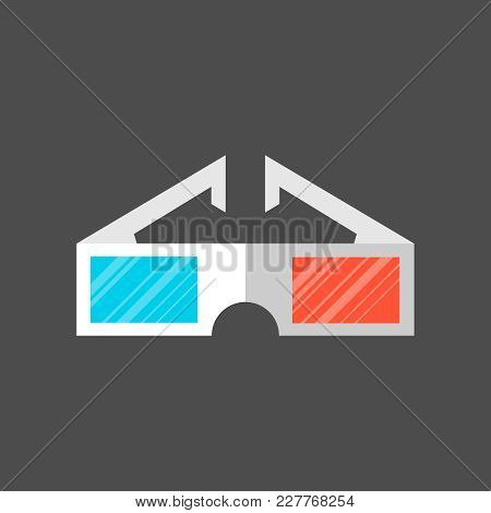 Cinema 3d Glasses On A Grey Background. Glasses For Watching 3d Movies. Vector Illustration.