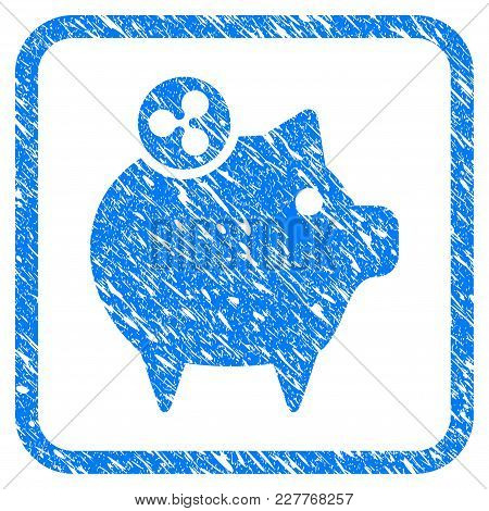 Ripple Piggy Bank Rubber Seal Stamp Imitation. Icon Vector Symbol With Grunge Design And Corrosion T