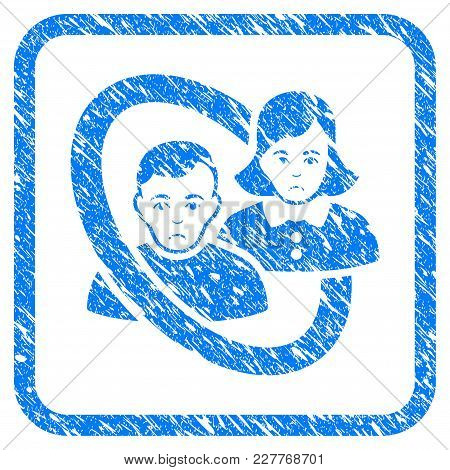 Ringed People Couple Rubber Seal Stamp Watermark. Icon Vector Symbol With Grunge Design And Dust Tex