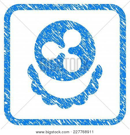 Ripple Coin Reward Rubber Seal Stamp Imitation. Icon Vector Symbol With Grunge Design And Unclean Te
