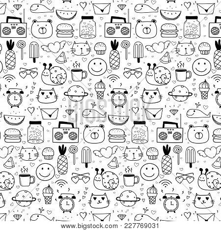 Pattern With Line Hand Drawn Doodle Lovely Vector Background For Kid. Doodle Funny. Hand Drawn Vecto