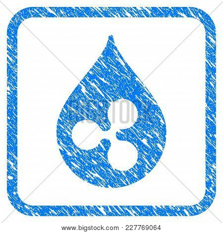 Ripple Drop Rubber Seal Stamp Imitation. Icon Vector Symbol With Grunge Design And Dust Texture In R