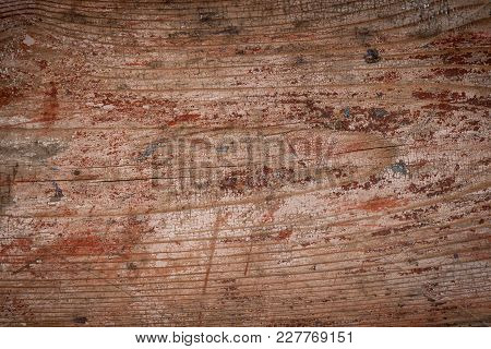 Old Grunge Wooden Natural Background With Aged Red Paint