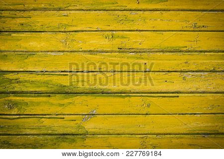Old Yellow-green Wooden Painted Planks. Abstract Natural Background, Empty Template