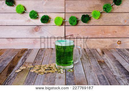 St. Patrick's Mug Of Green Beer Golden Coins