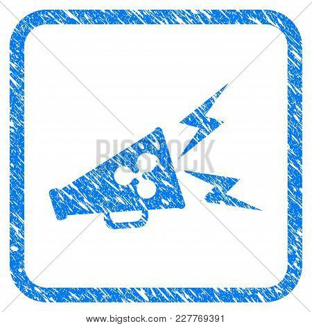 Ripple Megaphone Alert Rubber Seal Stamp Imitation. Icon Vector Symbol With Grunge Design And Unclea