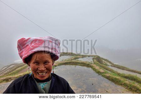 Longsheng Ping An, Guangxi Autonomous Region, China - Circa June 2016: Portrait Of The Long Hair Wom