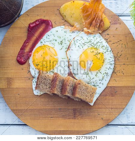 Fried Eggs, Traditional Glazunya, Two Fried Eggs, Full Breakfast, Yolk With Dill