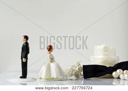 Man And Wife Back To Back With Wedding Décor And Items. Copy Space.