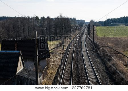Railway Line For High-speed Rail Trains. Railway Line And Electric Traction, Which Is Located Above