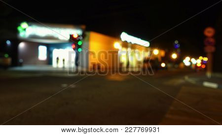 Night Street In The City. Night In The City, Supermarket And Road.