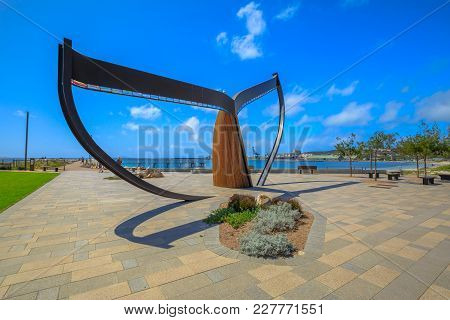 Esperance, Australia - Dec 26, 2017: Whale Tail Sculpture, On Beachside Plaza At James Street At The