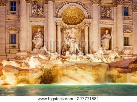 The Fontana di Trevi in Rome illuminated at night