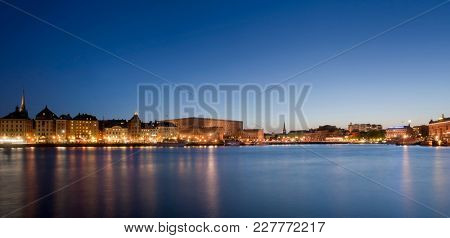 Panorama photo of Stockholm City at night