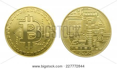 Two Sides Of A Gold Coins Of Bitcoin, Isolated Over White
