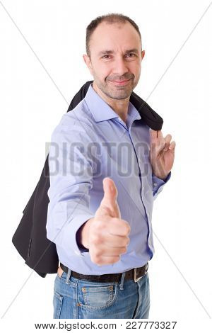 happy casual man going thumbs up, isolated on white background
