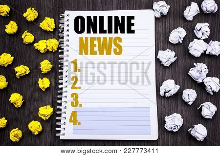 Conceptual Hand Writing Text Caption Showing Online News. Business Concept For Online Newspaper Arti