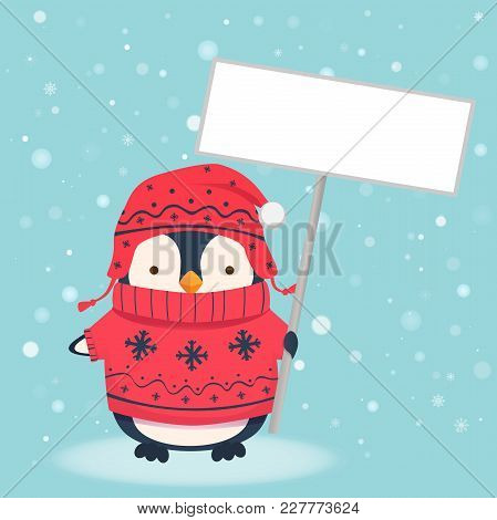 Penguin Holding Blank Sign. Penguin Cartoon Vector Illustration.
