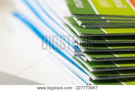 Stack Of Report Paper Documents For Business Desk, Business Papers For Annual Report Files, Document