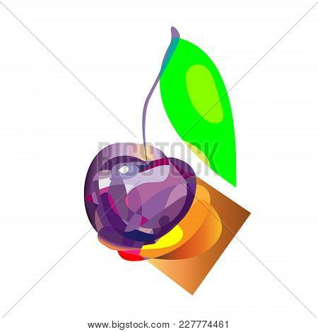 Abstract Pseudo Polygon Style Cherry, Vector Cherry Icon, Isolated Cherry Sign.