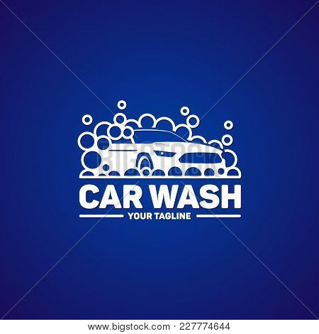 Car Washing Logo Template. Auto Washing Service Logotype Design.