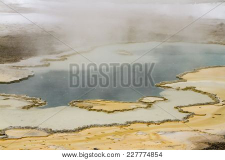 Steaming Rock Formation In Upper Geyser Basin, Yellowstone National Park