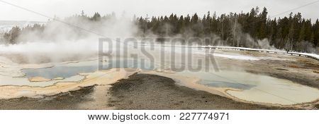 Panorama Of Hot Springs In Upper Geyser Basin, Yellowstone National Park