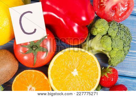 Fresh Healthy Fruits And Vegetables As Sources Of Minerals Containing Vitamin C And Dietary Fiber, H