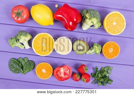 Fresh Fruits And Vegetables As Sources Vitamin C, Minerals And Dietary Fiber, Healthy Food And Stren