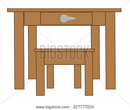 Simple Wooden Furniture Table And Stool.vector Illustration