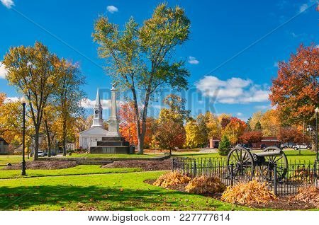 The Township-owned Square In Twinsburg, Ohio, With Landmarks And Autumn Colors