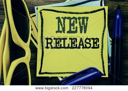 Hand Writing Text Caption Inspiration Showing New Release . Business Concept For Technology Software