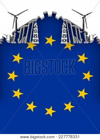 Energy And Power Cutout Silhouette. Sustainable Energy Generation And Heavy Industry. Flag Of The Eu