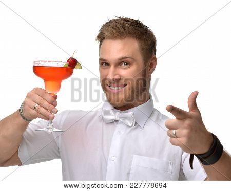 Young Man With Red Strawberry Margarita Cocktail Drink Juice Happy Pointing One Finger Isolated On W