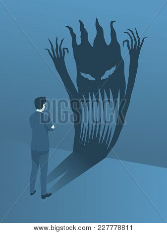 Businessman Brave Standing To Face His Fear, Simple Flat Vector.