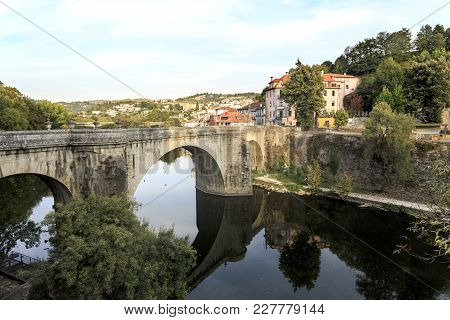 Amarante, Portugal - September 23, 2017: View Of The Tamega River And The Eighteenth Century Bridge