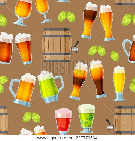Beer In Beerhouse Brewery Vector Set Beermug Or Beerbottle And Dark Ale In Bar On Beery Party With A
