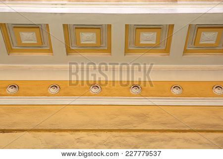 Plaster Wall Decor With Squares At Ceiling