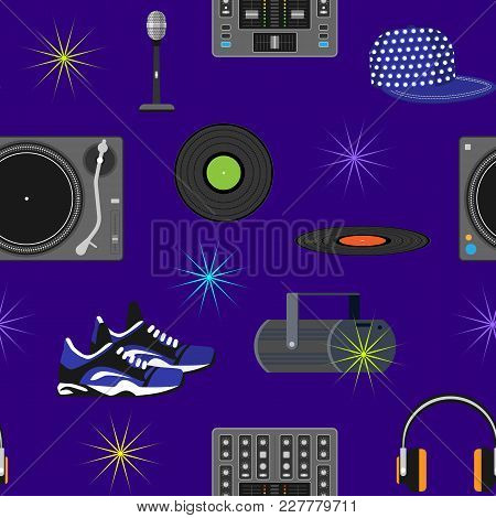 Dj Music Vector Discjockey Playing Disco On Turntable Sound Record Set With Headphones And Players A