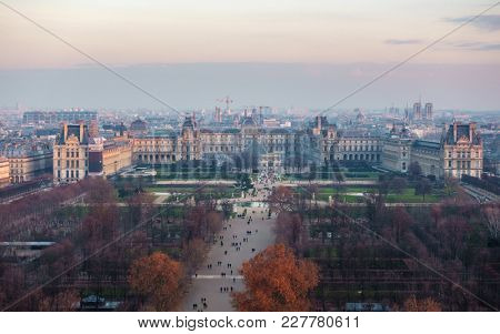 PARIS, FRANCE - CIRCA DECEMBER 2016: Aerial view from the ferris wheel of the Tuileries Garden and the Louvre palace.