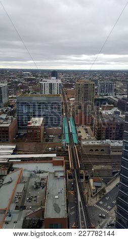 Aerial Elevated View Of The Chicago Elevated Train Tracks Running West From The Loop