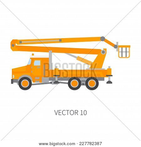 Color Flat Vector Icon Construction Machinery Truck Auto Crane. Industrial Retro Style. Corporate Ca