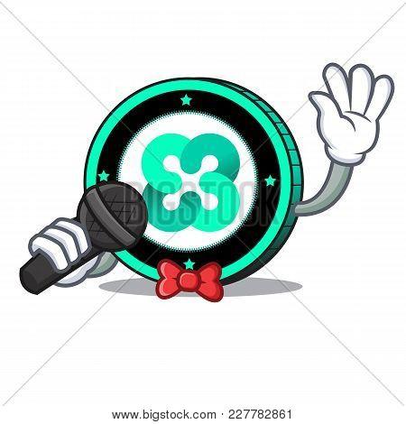 Singing Ethos Coin Mascot Cartoon Vector Illustration