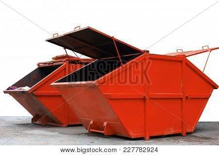 Industrial Waste Bin (dumpster) For Municipal Waste Or Industrial Waste, Isolated On White Backgroun