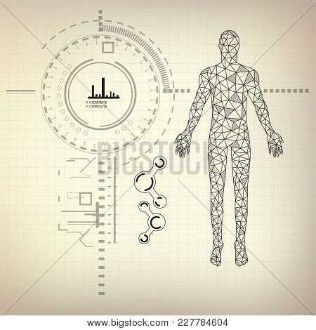 Graphic Of Polygon Man With Futuristic Interface On Vintage Blueprint